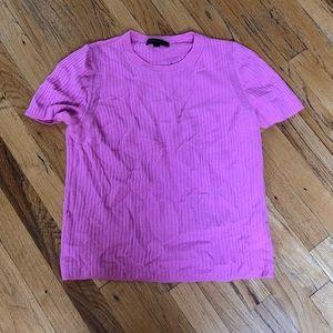 Banana Republic Hot Pink Wool T-Shirt Sweater SZ L